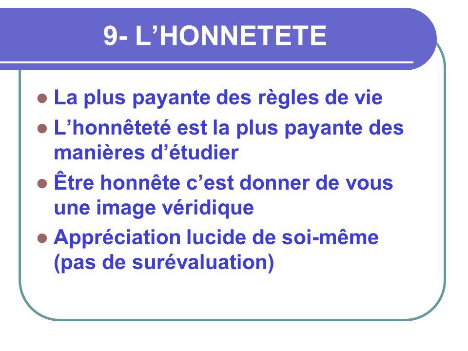 9- L'HONNETETE La plus payante des règles de vie