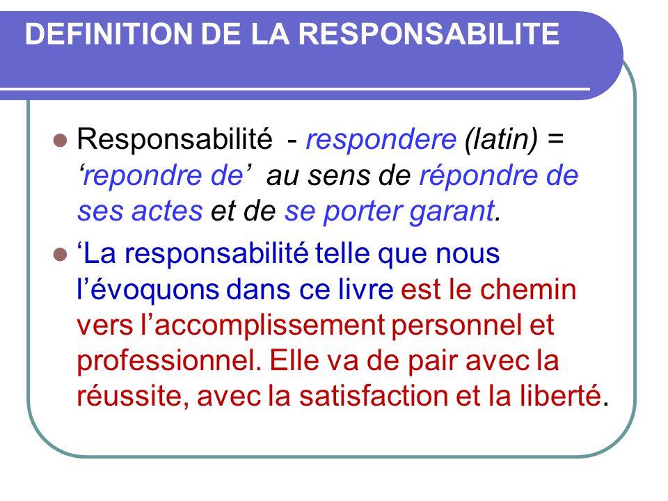 DEFINITION DE LA RESPONSABILITE