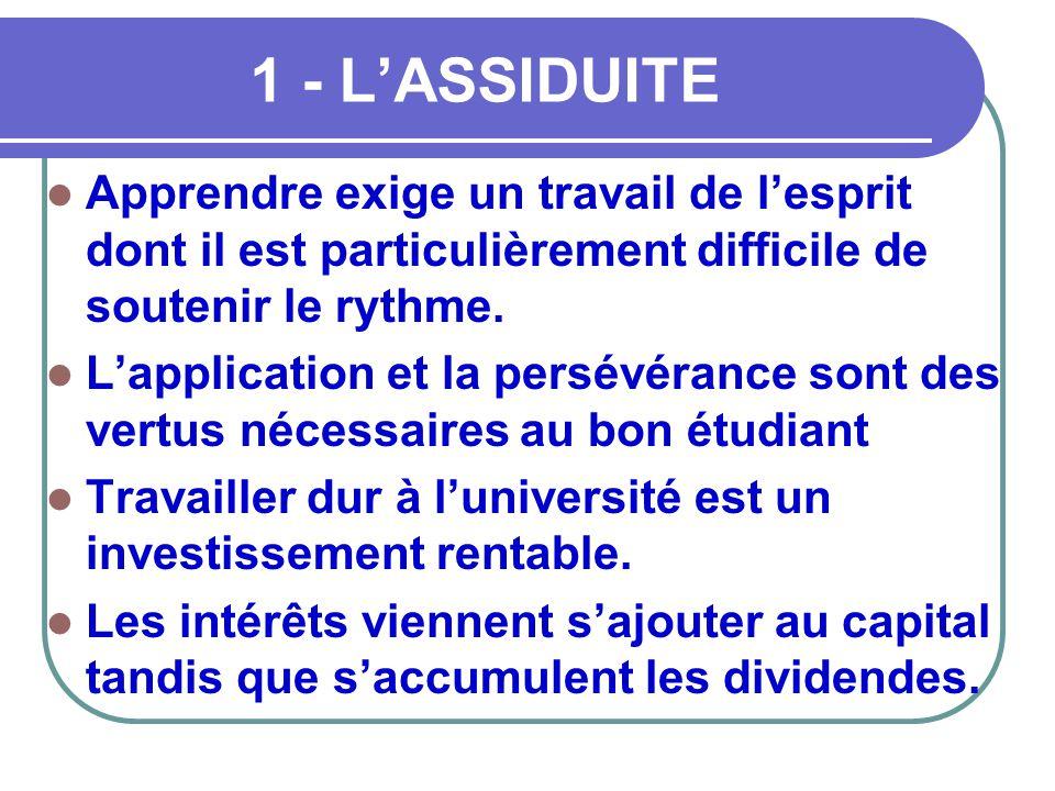 1 - L'ASSIDUITE Apprendre exige un travail de l'esprit dont il est particulièrement difficile de soutenir le rythme.