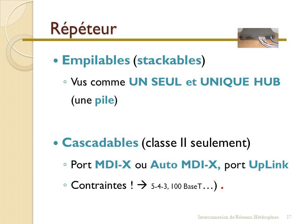 Répéteur Empilables (stackables) Cascadables (classe II seulement)