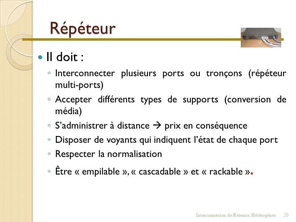 Répéteur Il doit : Interconnecter plusieurs ports ou tronçons (répéteur multi-ports) Accepter différents types de supports (conversion de média)