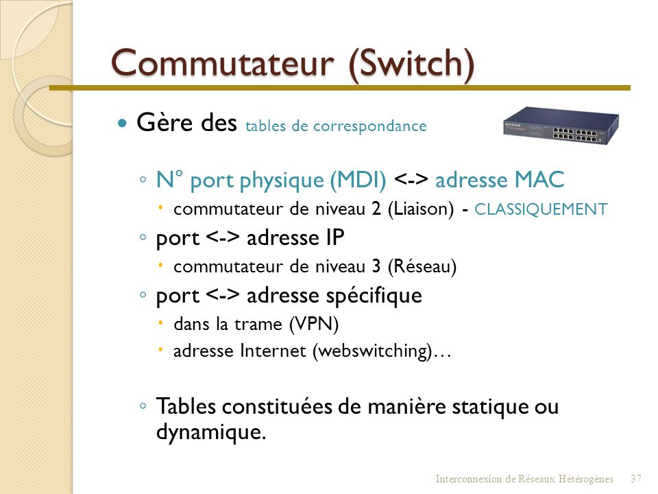 Commutateur (Switch) Gère des tables de correspondance