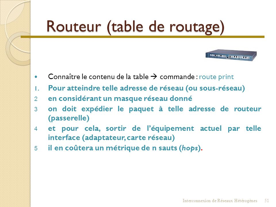 Routeur (table de routage)