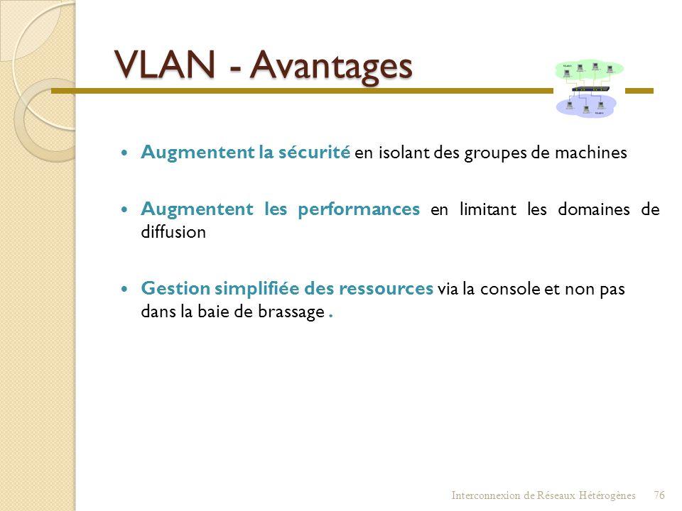 VLAN - Avantages Augmentent la sécurité en isolant des groupes de machines. Augmentent les performances en limitant les domaines de diffusion.