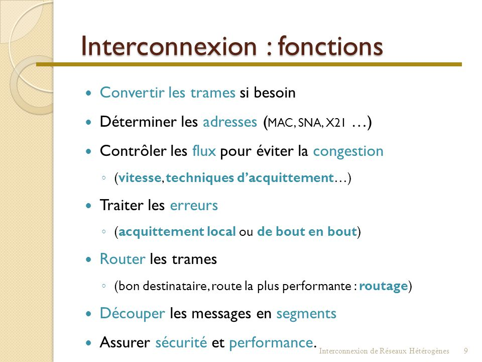 Interconnexion : fonctions