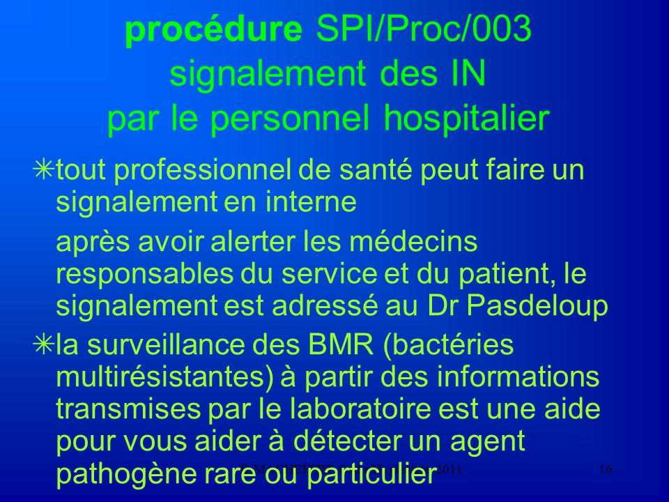 procédure SPI/Proc/003 signalement des IN par le personnel hospitalier