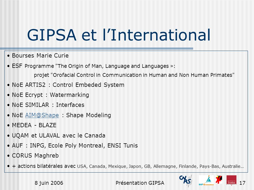 GIPSA et l'International