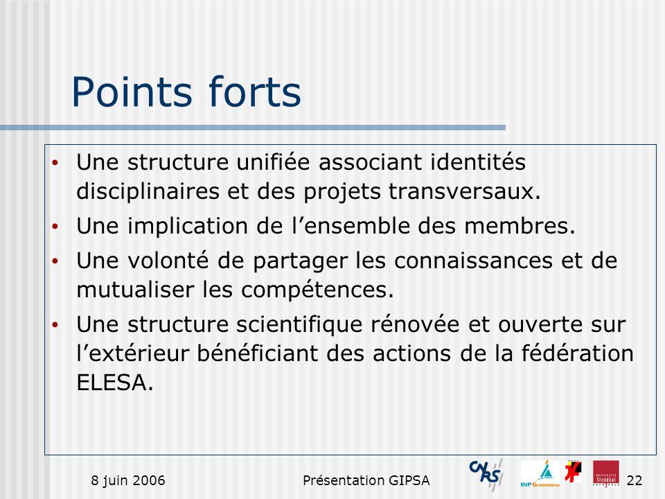 Points fortsUne structure unifiée associant identités disciplinaires et des projets transversaux. Une implication de l'ensemble des membres.