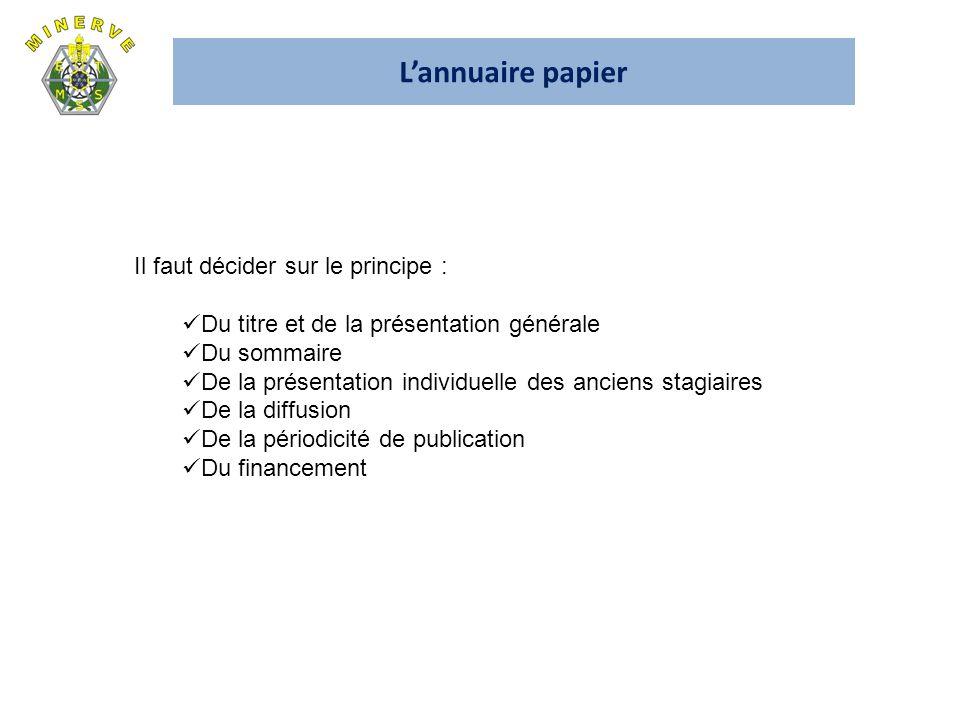 L'annuaire papier Il faut décider sur le principe :