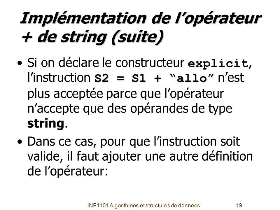 Implémentation de l'opérateur + de string (suite)