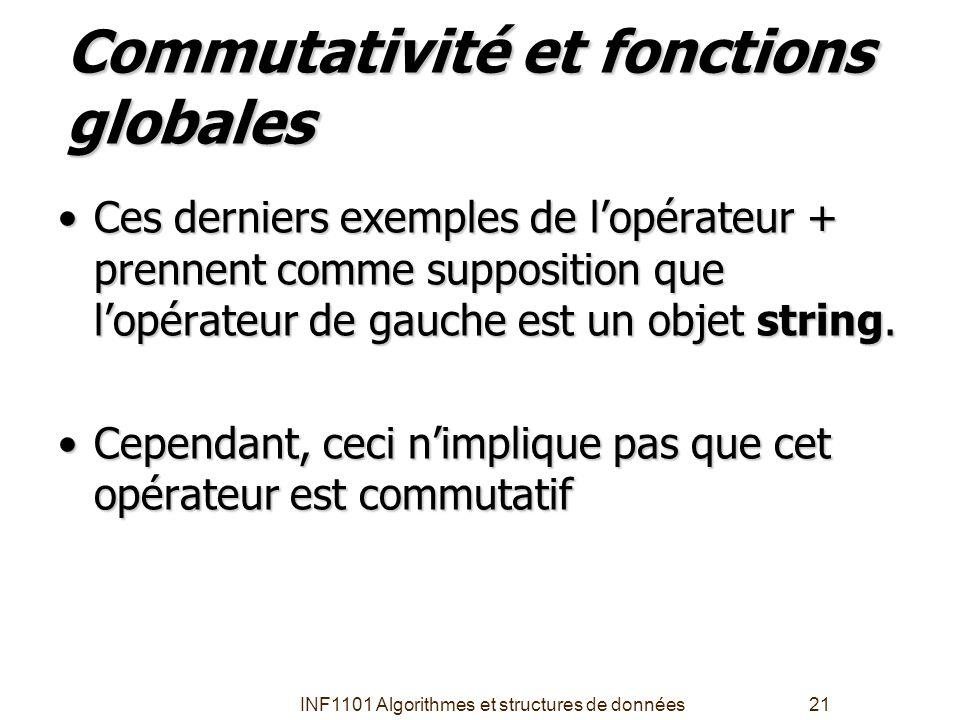 Commutativité et fonctions globales