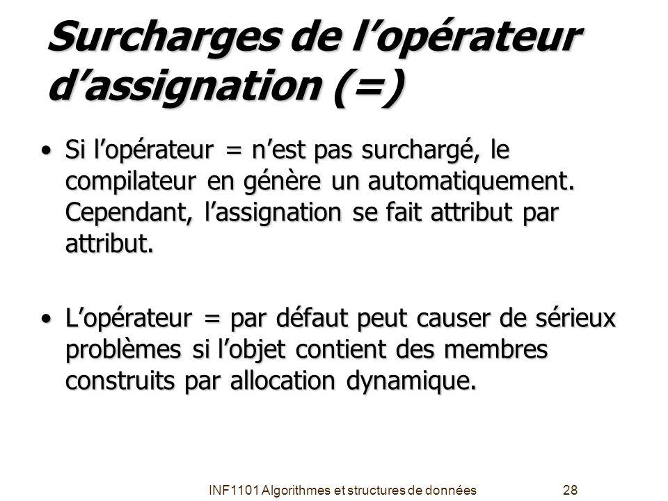 Surcharges de l'opérateur d'assignation (=)