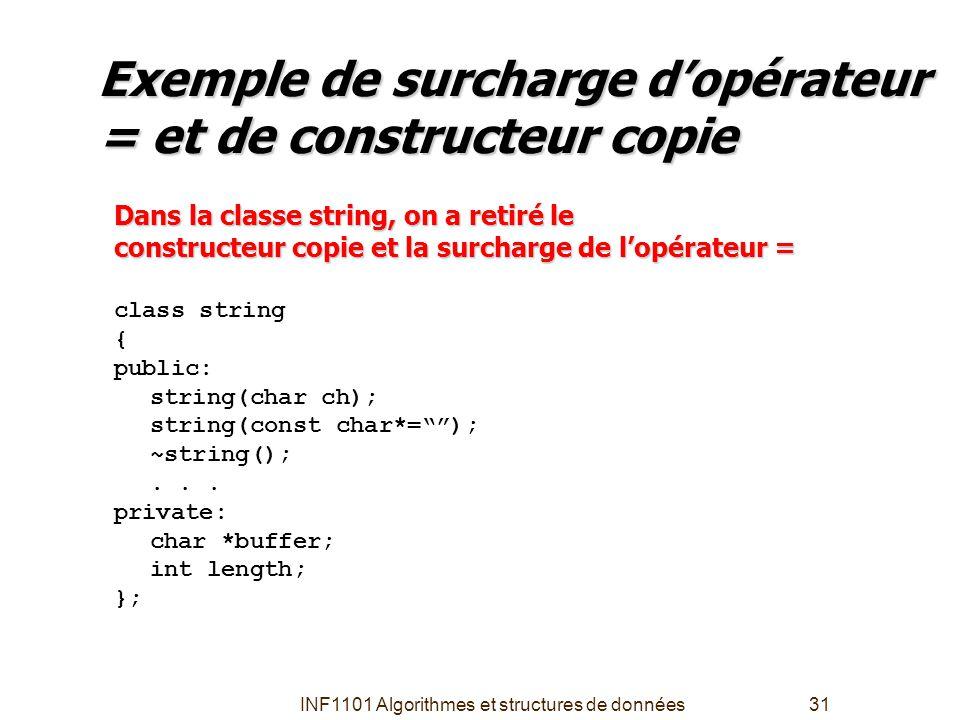 Exemple de surcharge d'opérateur = et de constructeur copie