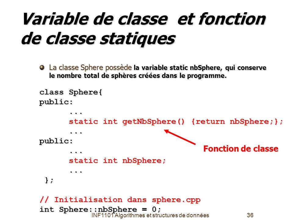 Variable de classe et fonction de classe statiques