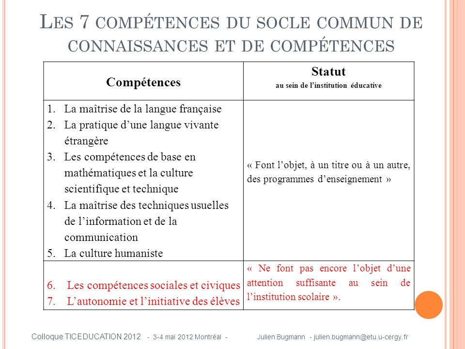 Les 7 compétences du socle commun de connaissances et de compétences