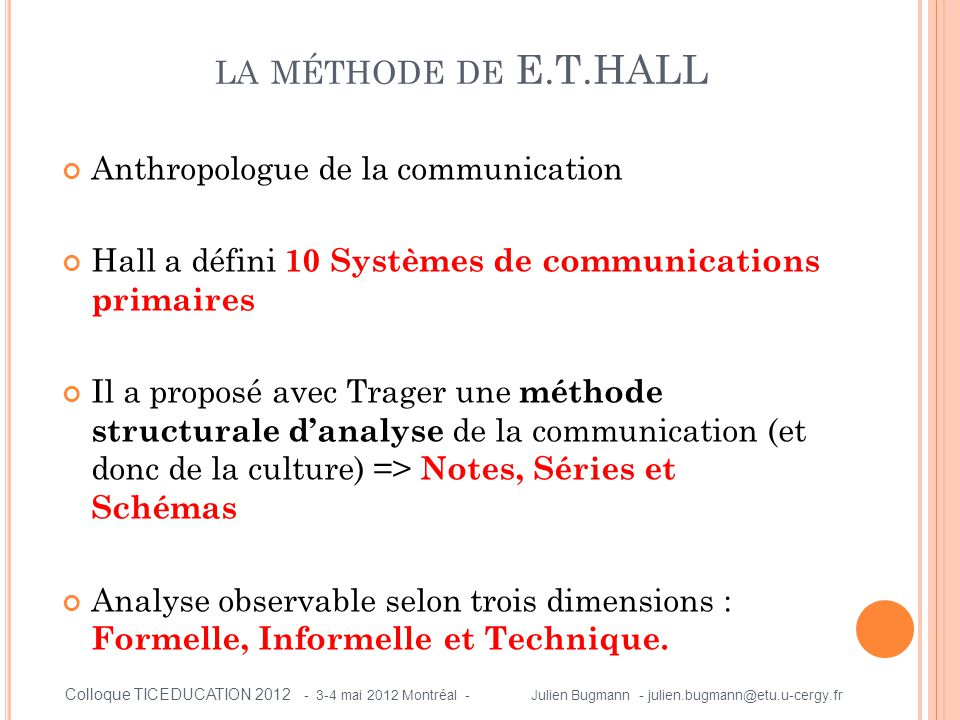 la méthode de E.T.HALL Anthropologue de la communication