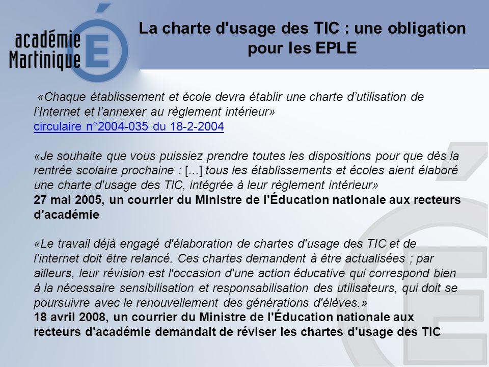La charte d usage des TIC : une obligation pour les EPLE