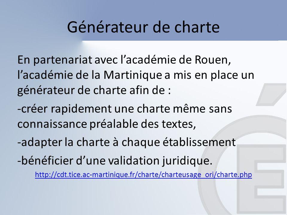 Générateur de charte En partenariat avec l'académie de Rouen, l'académie de la Martinique a mis en place un générateur de charte afin de :