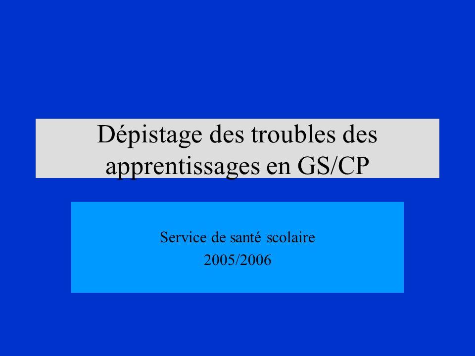 Dépistage des troubles des apprentissages en GS/CP