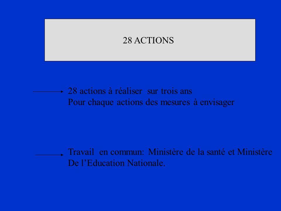 28 ACTIONS 28 actions à réaliser sur trois ans. Pour chaque actions des mesures à envisager.