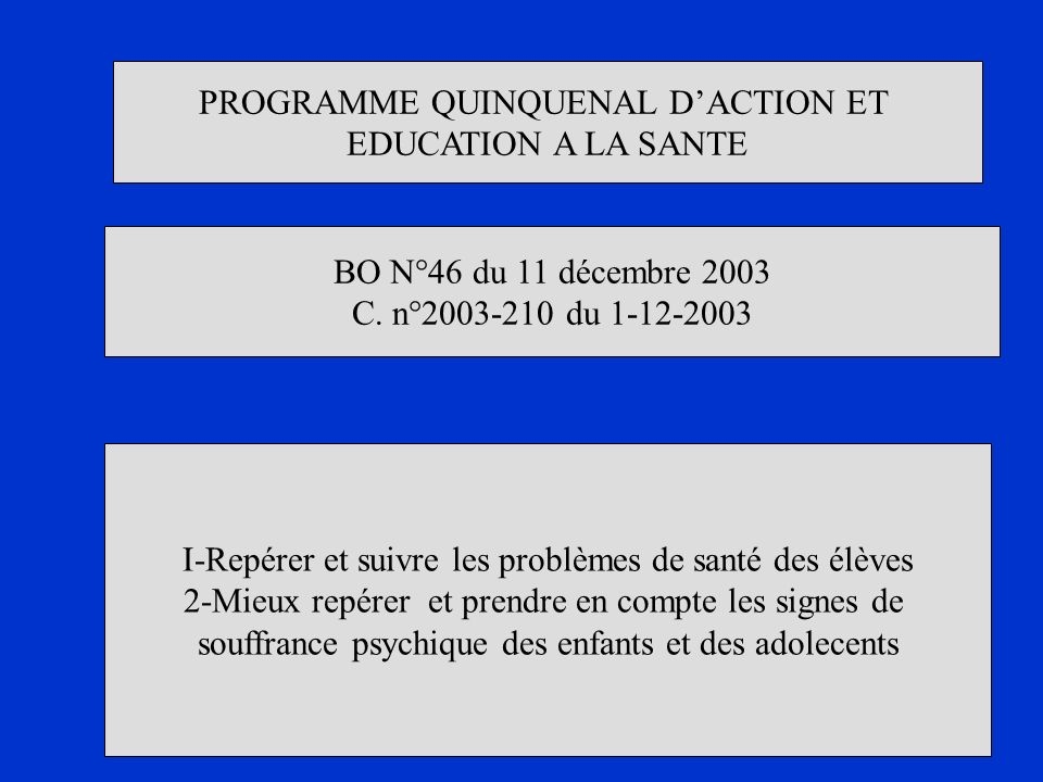 PROGRAMME QUINQUENAL D'ACTION ET EDUCATION A LA SANTE