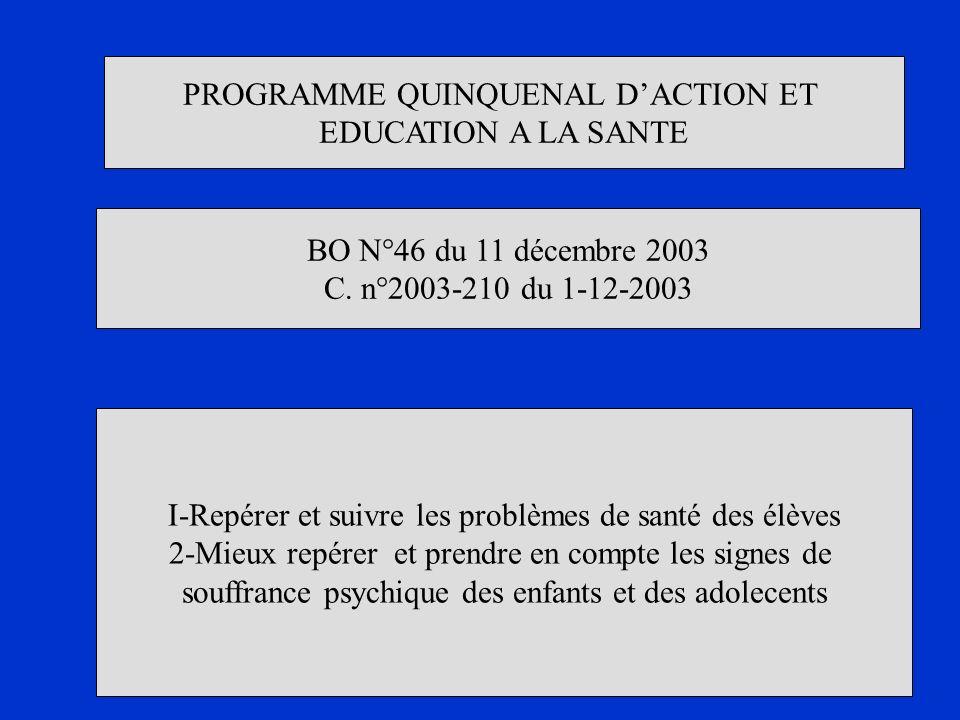 PROGRAMME QUINQUENAL D'ACTION ET EDUCATION A LA SANTE