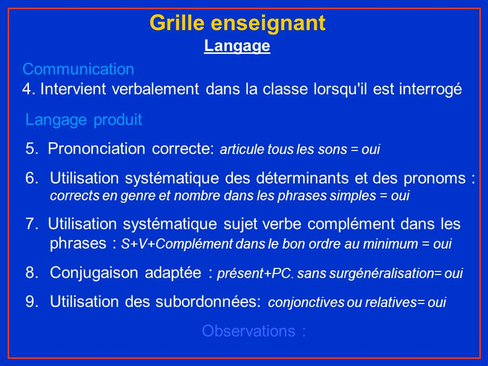 Grille enseignant Langage