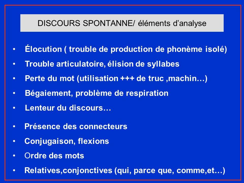DISCOURS SPONTANNE/ éléments d'analyse