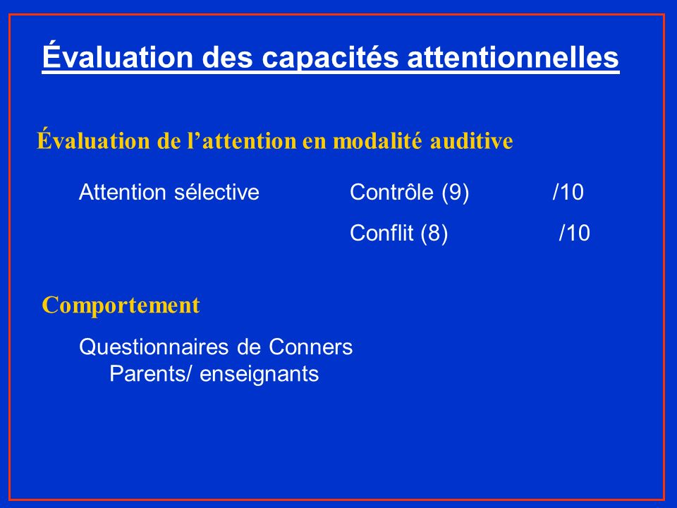 Évaluation des capacités attentionnelles