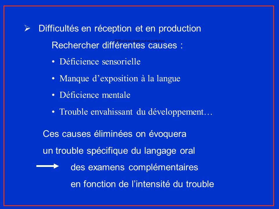 Difficulté en réception et en production