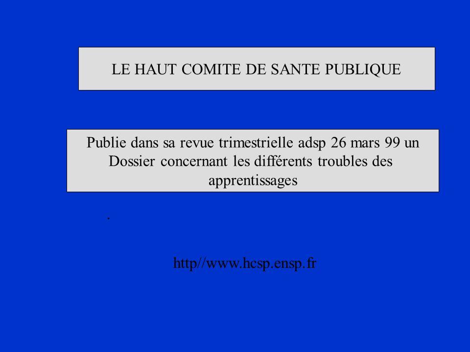 LE HAUT COMITE DE SANTE PUBLIQUE