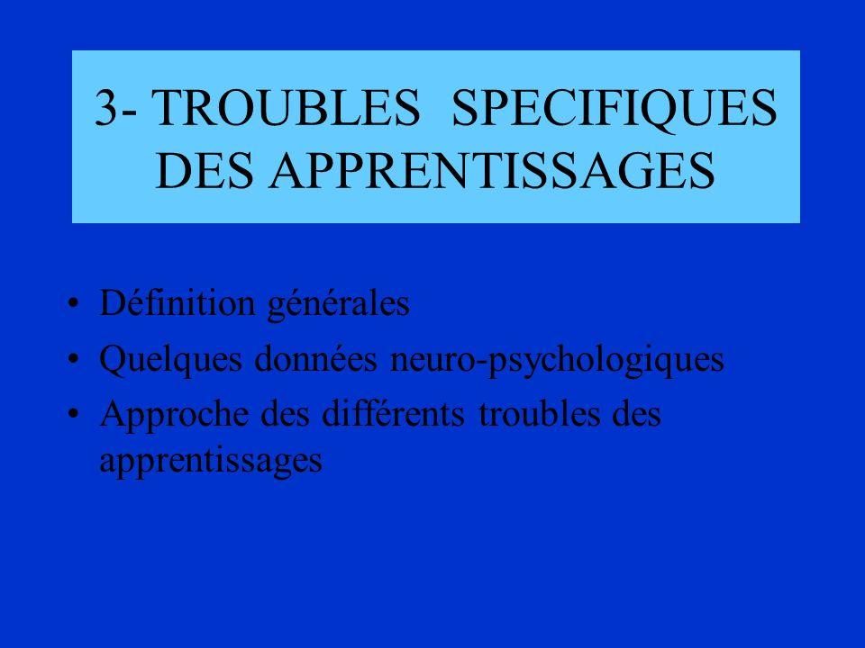 3- TROUBLES SPECIFIQUES DES APPRENTISSAGES