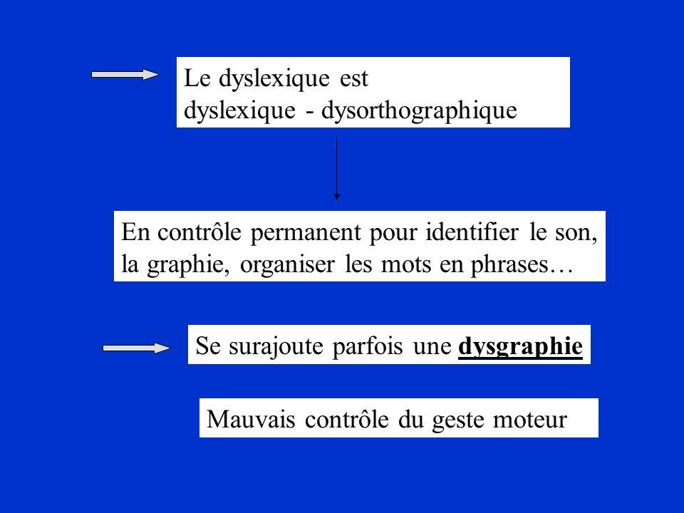 Le dyslexique est dyslexique - dysorthographique. En contrôle permanent pour identifier le son, la graphie, organiser les mots en phrases…