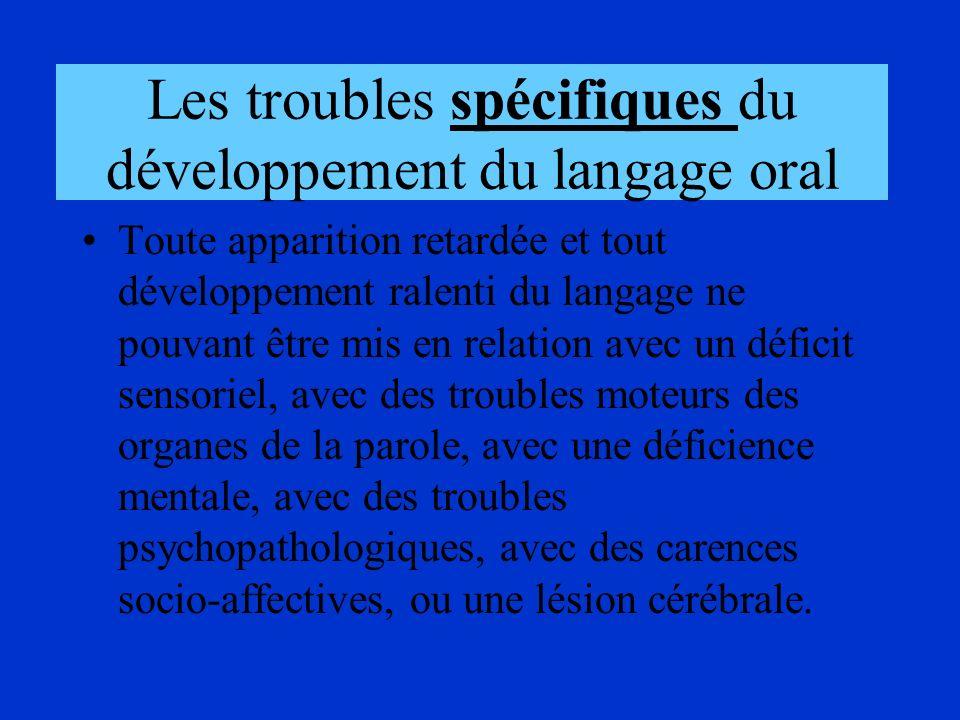Les troubles spécifiques du développement du langage oral