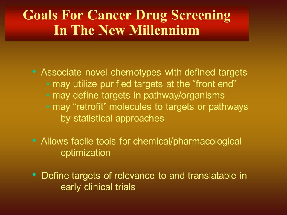 Goals For Cancer Drug Screening In The New Millennium