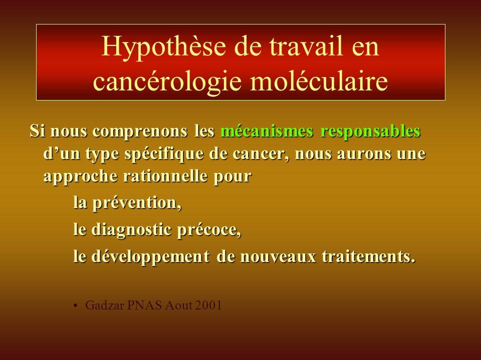 Hypothèse de travail en cancérologie moléculaire