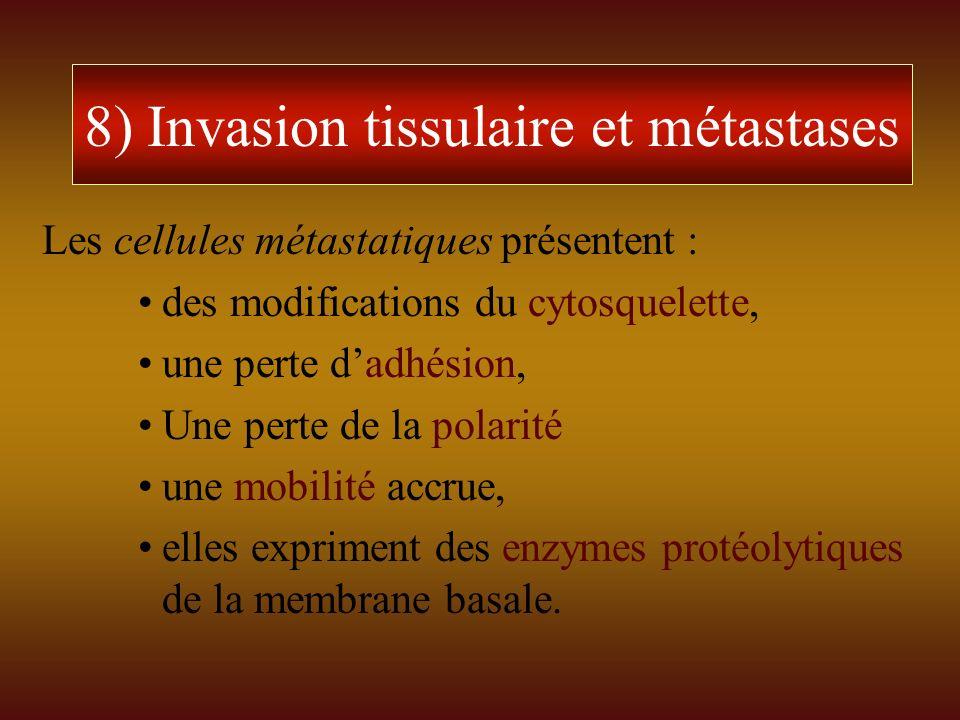 8) Invasion tissulaire et métastases
