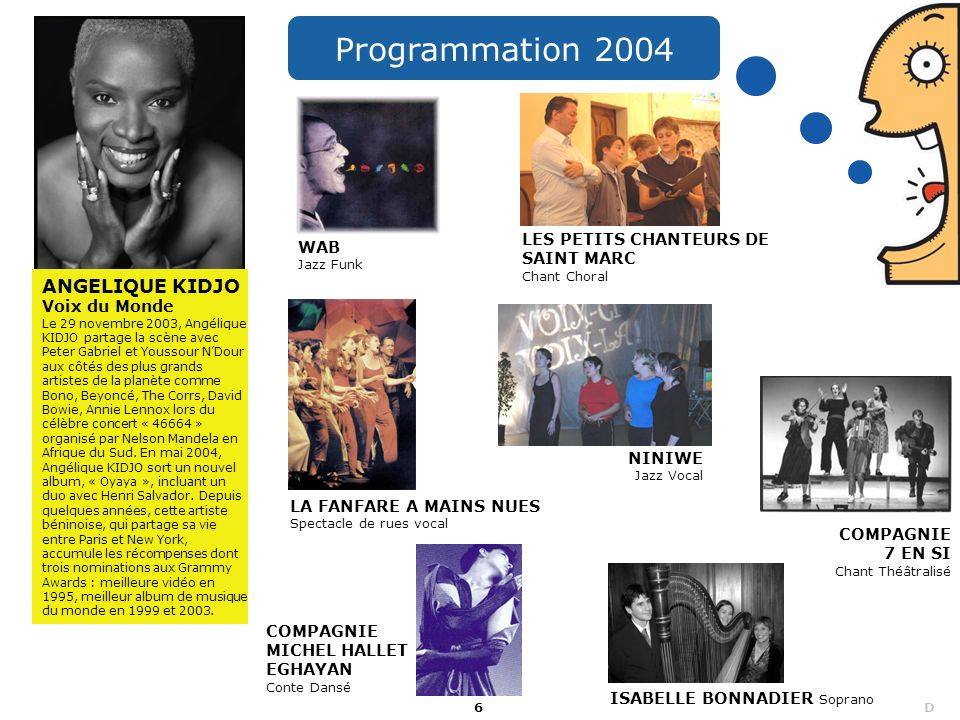 Programmation 2004 ANGELIQUE KIDJO Voix du Monde