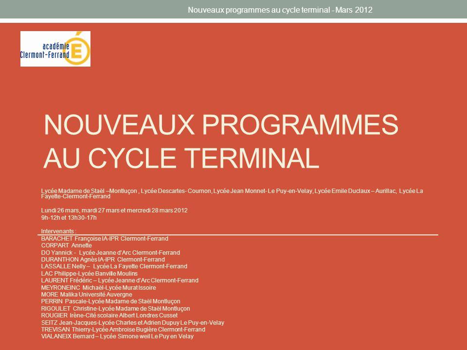 Nouveaux programmes au cycle terminal