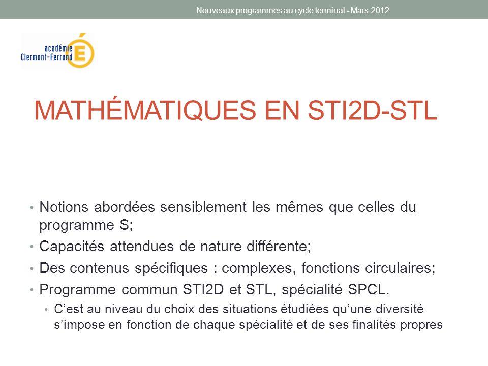 MATHÉMATIQUES EN STI2D-STL