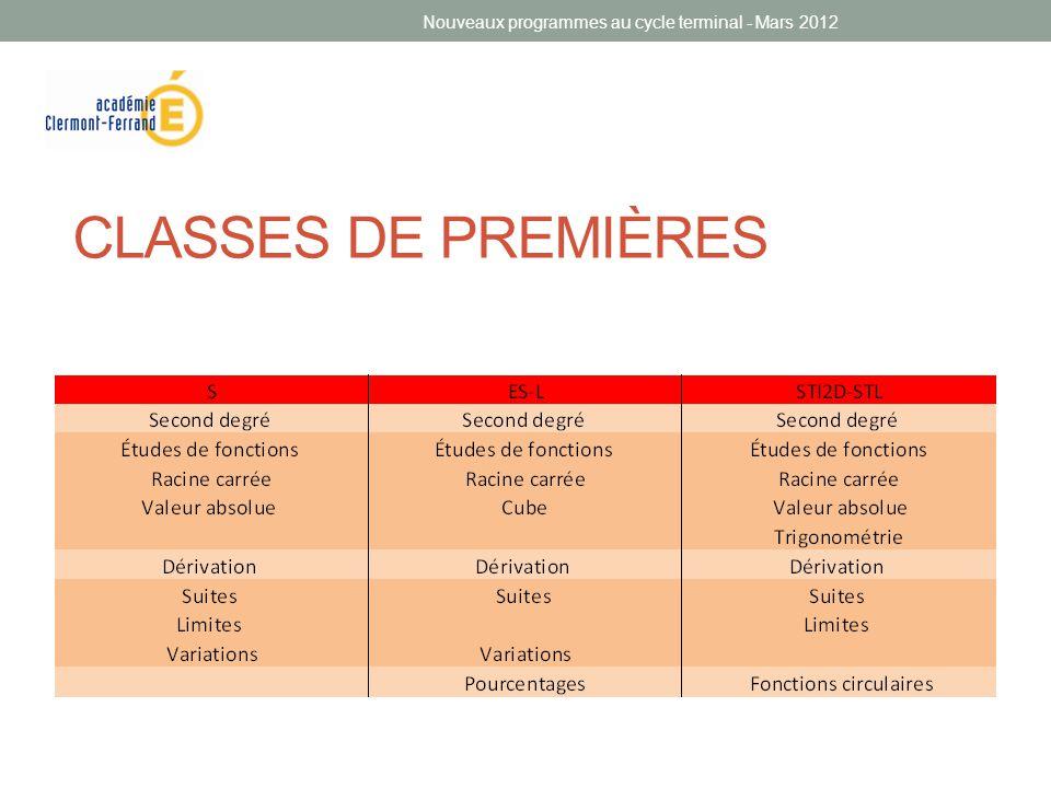 Nouveaux programmes au cycle terminal - Mars 2012