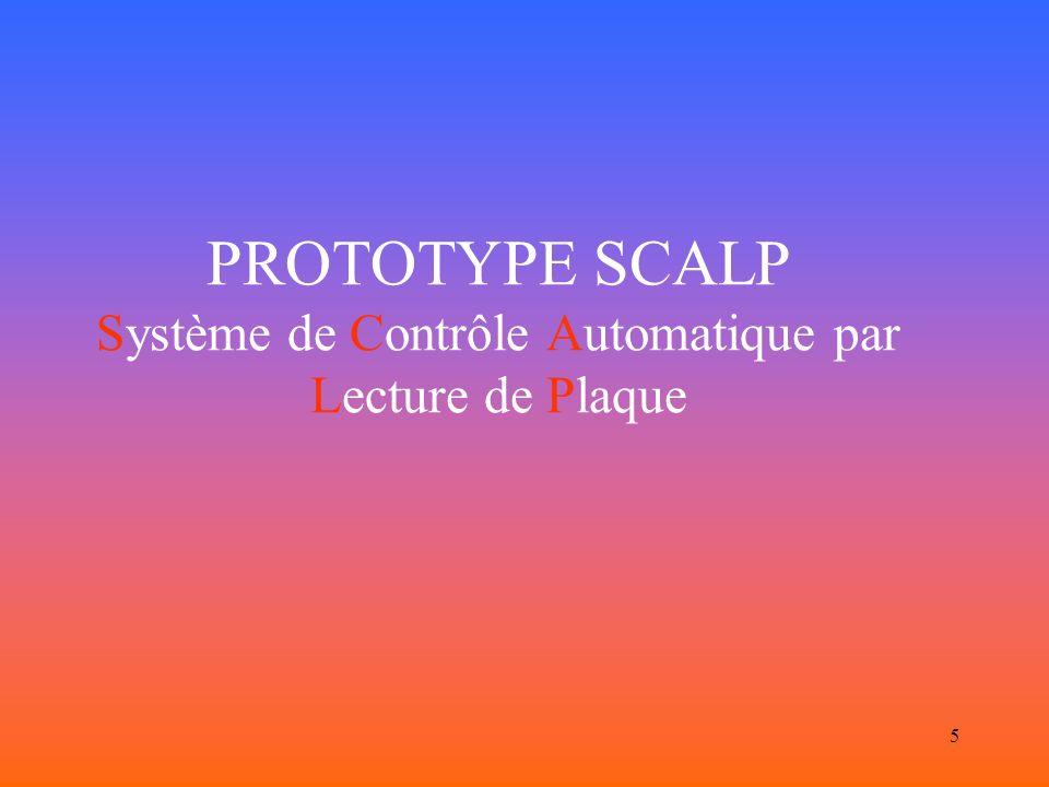PROTOTYPE SCALP Système de Contrôle Automatique par Lecture de Plaque