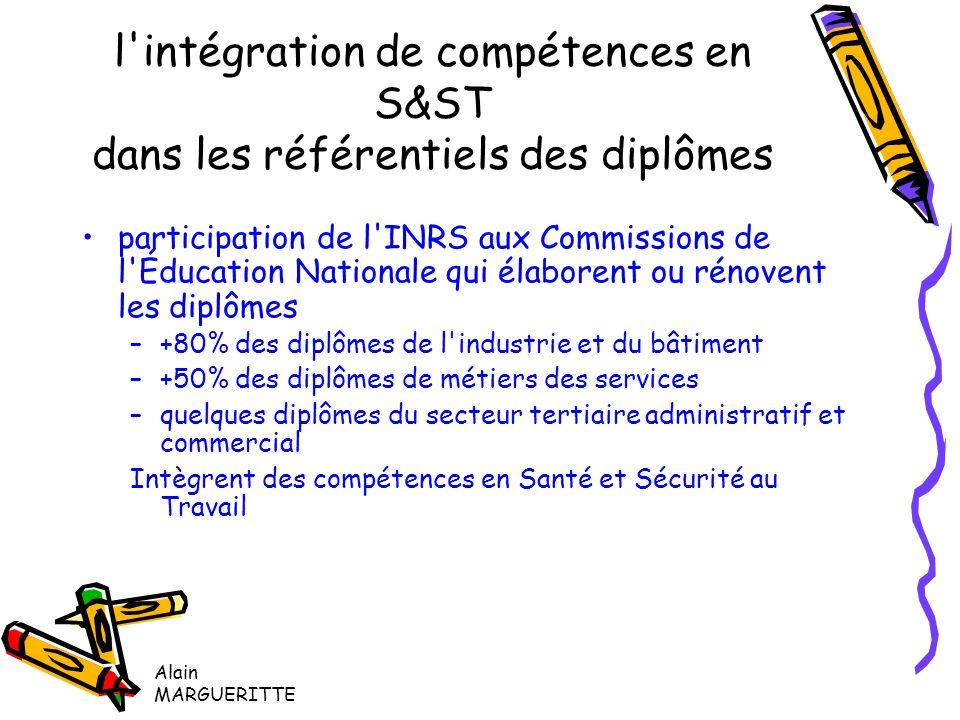 l intégration de compétences en S&ST dans les référentiels des diplômes