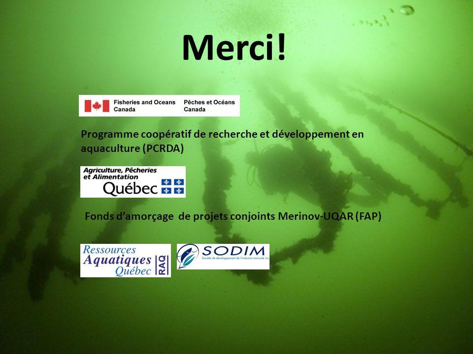 Merci! Programme coopératif de recherche et développement en aquaculture (PCRDA) Fonds d'amorçage de projets conjoints Merinov-UQAR (FAP)