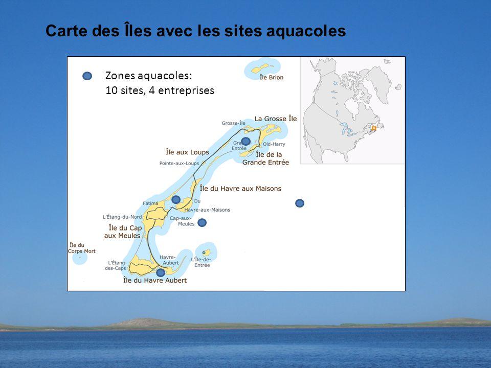 Carte des Îles avec les sites aquacoles