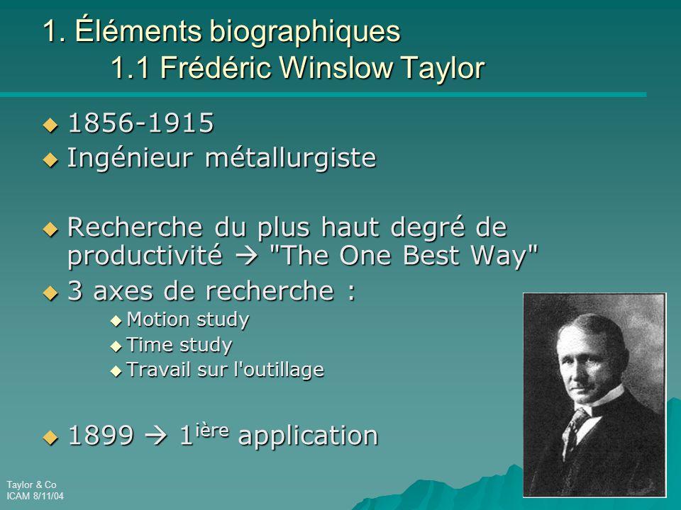1. Éléments biographiques 1.1 Frédéric Winslow Taylor