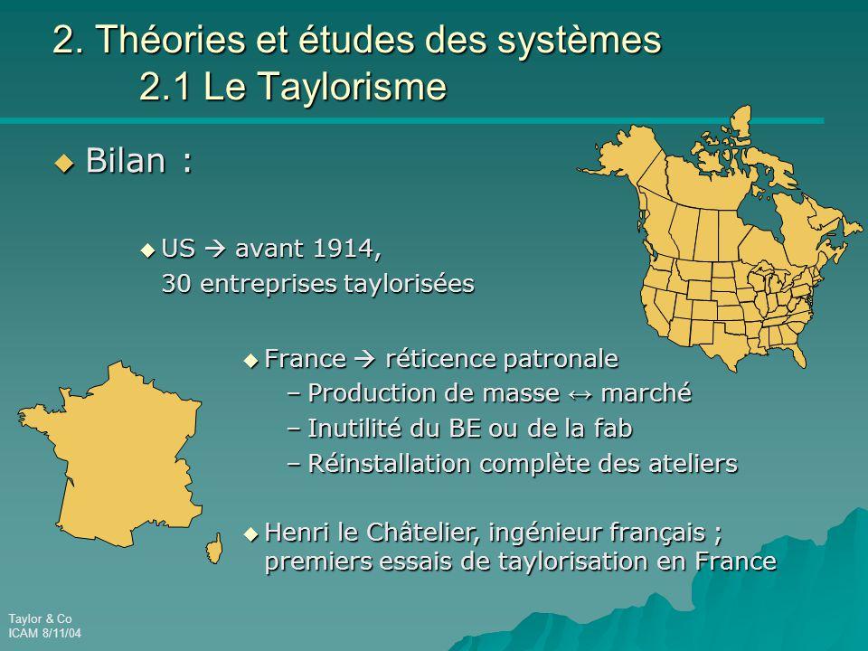 2. Théories et études des systèmes 2.1 Le Taylorisme
