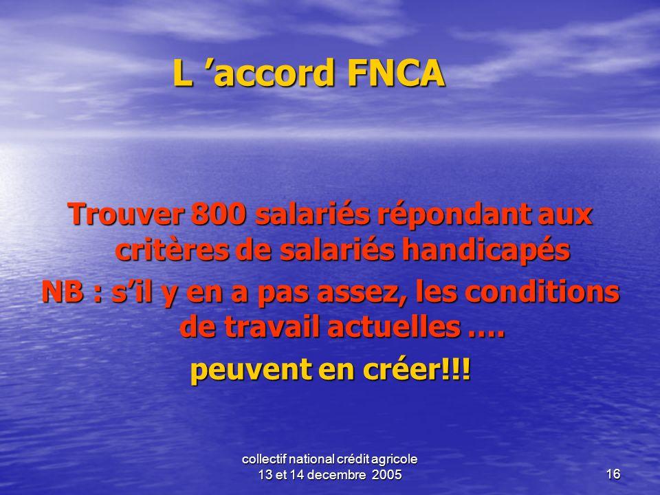 L 'accord FNCATrouver 800 salariés répondant aux critères de salariés handicapés. NB : s'il y en a pas assez, les conditions de travail actuelles ….
