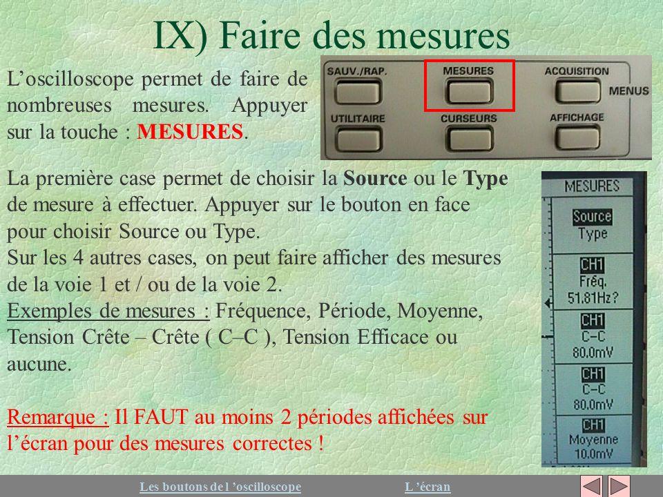 IX) Faire des mesures L'oscilloscope permet de faire de nombreuses mesures. Appuyer sur la touche : MESURES.