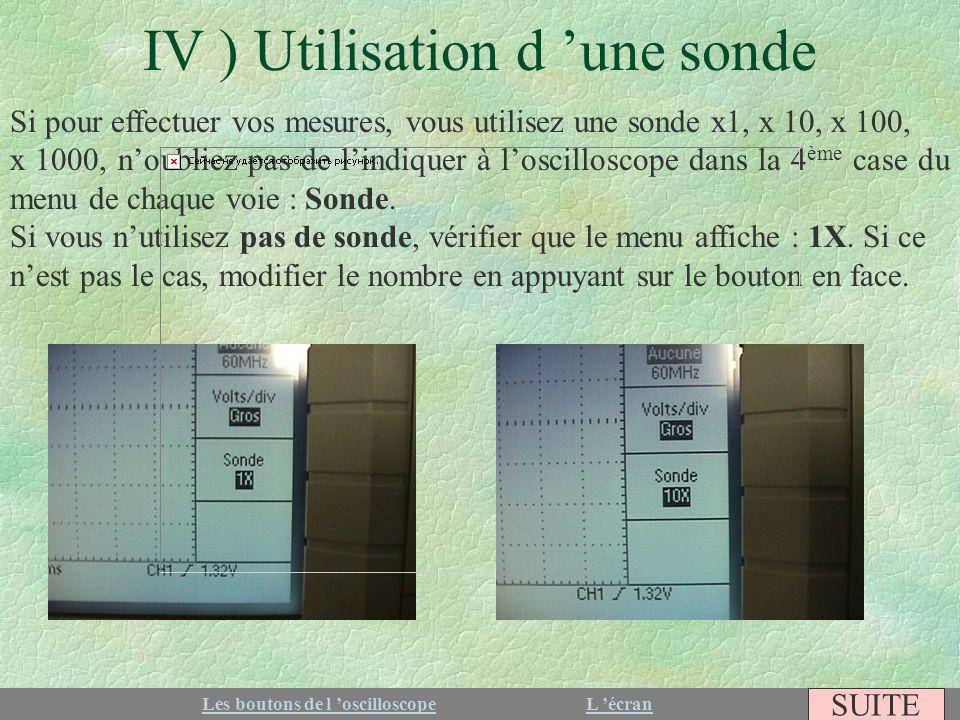 IV ) Utilisation d 'une sonde